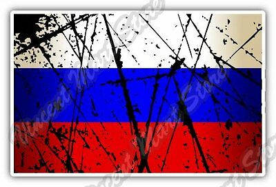 "Russia Country Flag Grunge Retro Car Bumper Window Vinyl Sticker Decal 5""X3.5"""