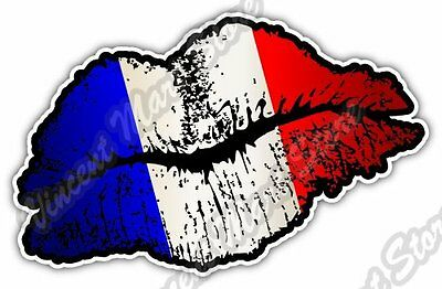 "France Country Lips Kiss Flag Car Bumper Window Vinyl Sticker Decal 5""X3.5"""
