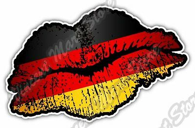 "Germany Country Lips Kiss Flag Car Bumper Window Vinyl Sticker Decal 5""X3.5"""