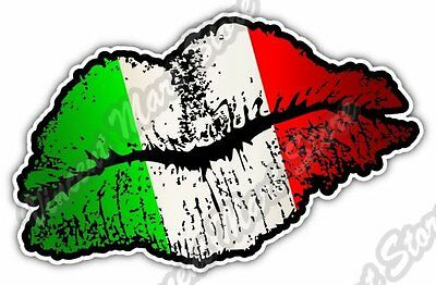 "Italy Country Lips Kiss Flag Car Bumper Window Vinyl Sticker Decal 5""X3.5"""
