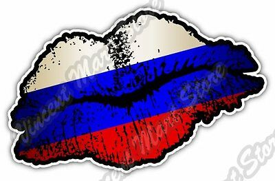 "Russia Country Lips Kiss Flag Car Bumper Window Vinyl Sticker Decal 5""X3.5"""