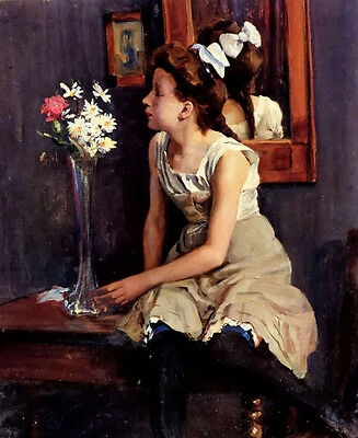 Oil painting ernst henseler - girl in the studio with flowers free shipping cost