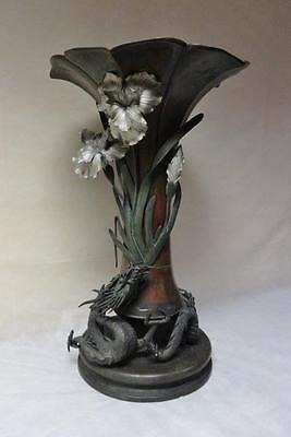 Antique Japanese Meiji Dynasty Solid Bronze Vase with Coiling Dragon (1868-1912)