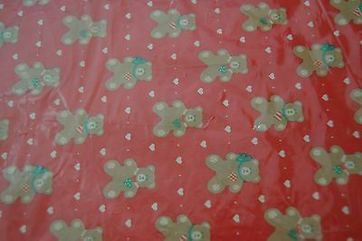 Vintage Holiday Hallmark Paper Gift Wrap TEDDY BEARS HEARTS NIP 1 Giant Sheet