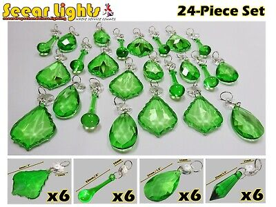 Peacock Crystals Droplets Green 24 Glass Prisms Drops Chandelier Bead Lamp Parts