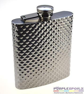 NEW HIP FLASK GIFT BOXED Diamond Stainless Steel Pocket Liquor Hipflask Case Alc