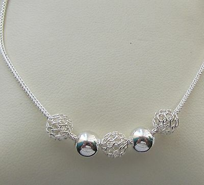 Sterling Silver  Fancy Snake Chain Bracelet With Beads Free Gift Box