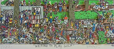 "James Rizzi ""Waiting to play Golf"" 1989 Original 3D-Konstruktion Handsigniert"