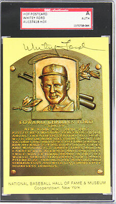 Whitey Ford Yankees Signed HOF Plaque Card Sgc Authentic Autograph Auto