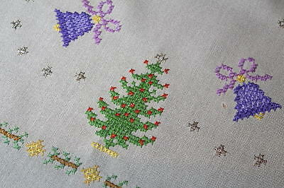 Christmas Trees & Purple Bells! Vintage Hand Embroidered Tablecloth W/ Border