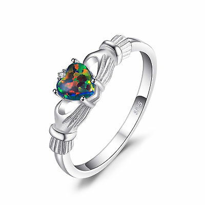 JewelryPalace Irish Celtic Claddagh Created Black Opal Ring 925 Sterling Silver
