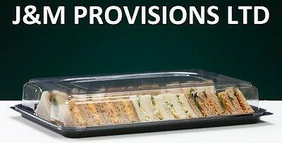 5 X LARGE Buffet Catering Partyfood/Sandwich Platter Trays with Snap On Lids