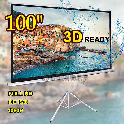 """100"""" Height Adjustable Tripod TV Screen Conference Projector Screen100 Inch"""