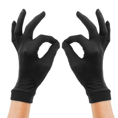 Pure Silk Liner Gloves Thermal Ski Cycling Inner Under Gloves - BLACK S
