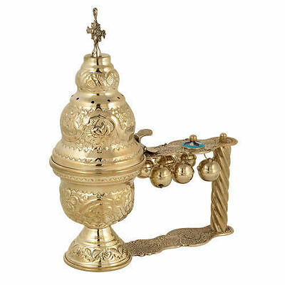 Christian Orthodox Church Liturgical Brass Hand Censer Katsion free shipping!