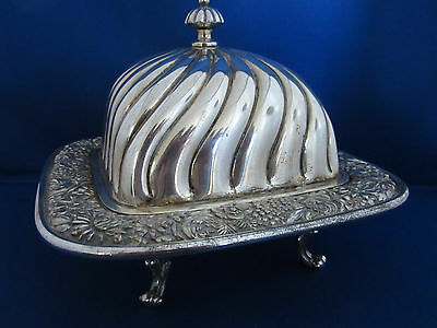 Antique Victorian Quadruple Plate Meriden B Company Footed Butter Dish 5024