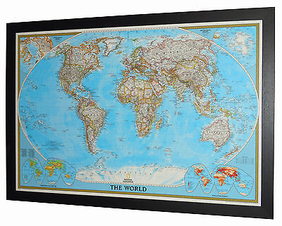 "Framed World Map - National Geographic Classic - 46"" x 33"""