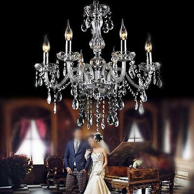 Crystal Chandelier With Beaded Chains Clear Ceiling Pendant 6 Arm Candle Lamp