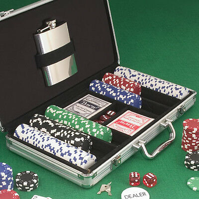 Traveling Poker Set Plus Stainless Steel Flask ***Clearance Item***