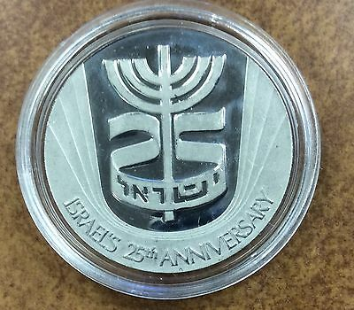{BJStamps} 1973 PLATINUM Israel 25th Anniversary Official State Medal  1 toz
