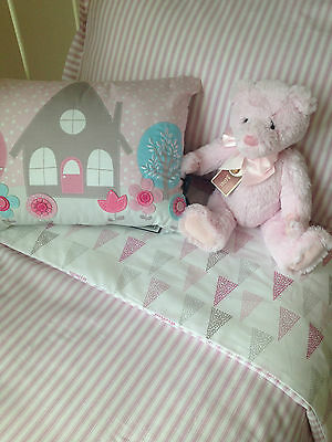 3 pc Baby Girls Lily Cot Cover Wool Quilt Pillow Case Pink Designers Choice