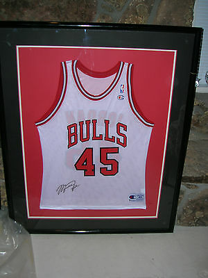 6176a32f3 Michael Jordan Signed Framed Bulls No. 45 Home Jersey Includes Coa New Old  Stock