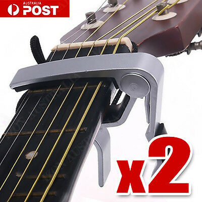 2 x Aluminum Silver Guitar Capo Spring Trigger Electric Acoustic Quick Release