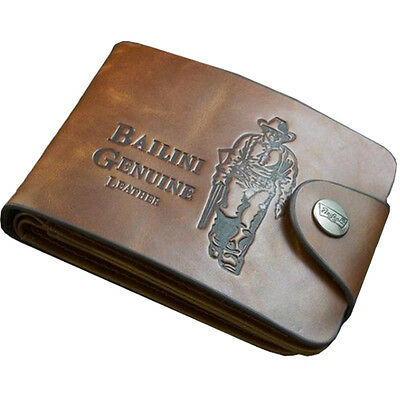 2015 Mens Genuine Leather Bifold Wallet Credit/ID Card Holder Slim Coin Purse