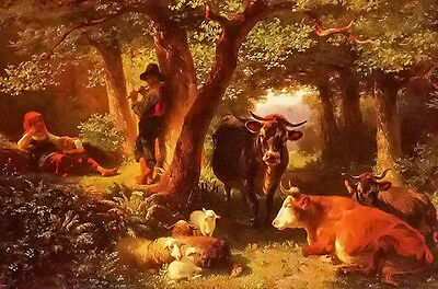 Oil painting friedrich johann voltz - waldmotiv mit kuhen cows sheep in forest