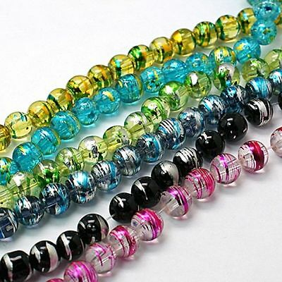 Wholesale 50Pcs Mixed Czech Glass Drawbench Round Charm Loose Spacer Beads 6mm