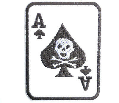 """Ace Of Spades 13 Skull Cafe Racer Biker Embroidered Iron On Patch Applique 3.1/"""""""