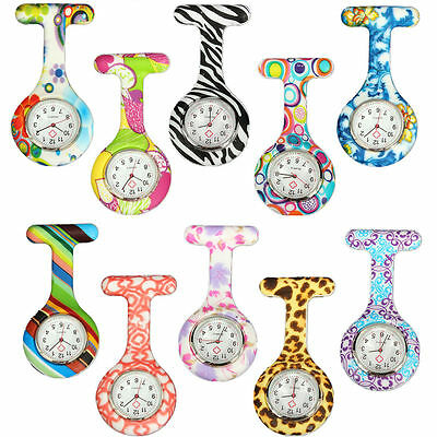 Nurse Silicone Silver Stainless Steel Dial Quartz Fob Medical Tunic Pocket Watch