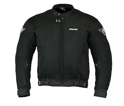 RKSports Mesh Motorcycle Jacket Air Flow Armored Mens Ladies Black RRP £74.99