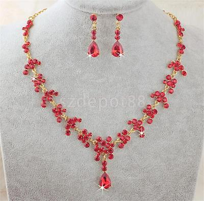 Wedding Bride Rhinestone Jewelry Set Clip on Earring And Red Necklace Set