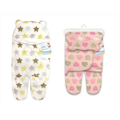 Fleecy Snuggle Baby/Babys Wrap/Blanket White Stars/Pink Hearts 0-3 Months