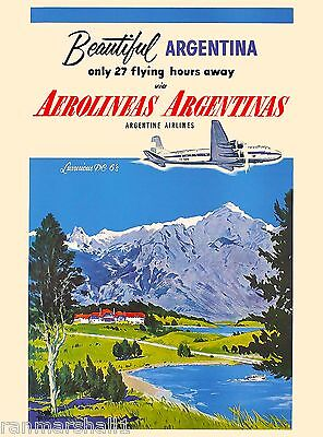 Beautiful Argentina South America Vintage Travel Advertisement Art Poster