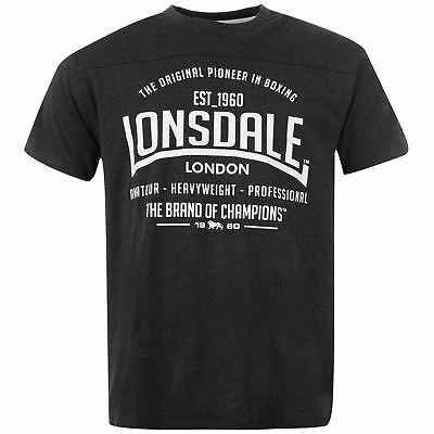 LONSDALE T-Shirt Men's Box Tee Top - Size S to 4XL - Charcoal/Marl - OZ STOCK!