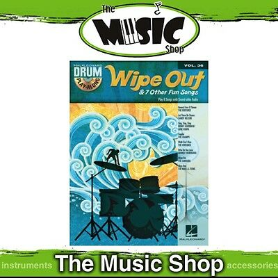 New Wipe Out & 7 Other Fun Songs Drum Play Along Music Book & CD - Volume 36