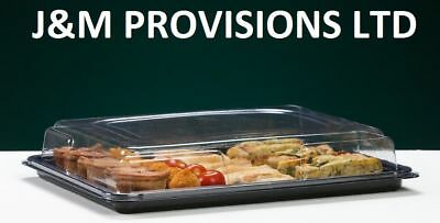 5 X MEDIUM Buffet Catering Partyfood/Sandwich Platter Trays with Snap On Lids