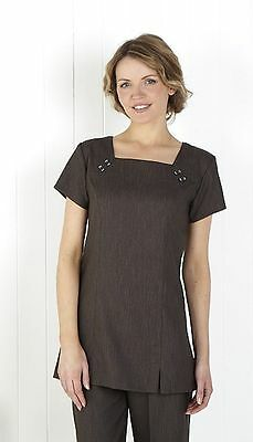 Linen Look Spa, Beauty Tunic, Square Neck Tunic Charcoal Grey. Best Seller