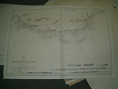 Vintage Admiralty Chart 2607 FRANCE - MARSEILLE to AGAY ROAD 1982 edn