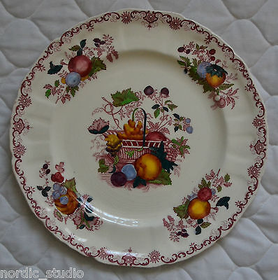 """FRUIT BASKET by MASON'S CHINA, Dinner Plate, 10""""diam , Multicolor Red, England"""