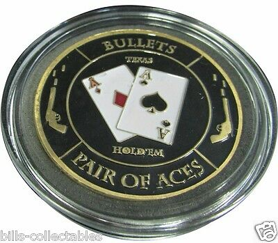BULLETS - PAIR OF ACES gold color Poker Card Guard Protector