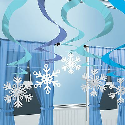 Winter Blue Hanging Swirl Ice Snow Snowflake Birthday Christmas Party Decoration