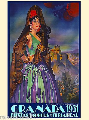 1931 Granada Spain Fiestas Spanish Senorita Vintage Travel Advertisement Poster