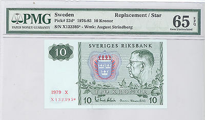 1976  Sweden, Replacement /  Star 10 Kronor, PMG 65 EPQ GEM UNC P#: 52d*