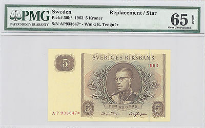 1963  Sweden, Replacement /  Star 5 Kronor, PMG 65 EPQ GEM UNC P#: 50b*
