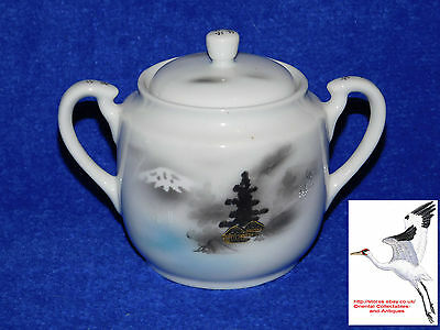 Japanese Eggshell Porcelain Sugar Bowl Oriental Asian Kutani Antique