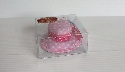 DRITZ PINK HAT with flower and polka dots COLLECTIBLE PIN CUSHIONS gift for mom