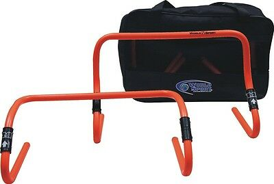 """Set Of Six 6"""" Or 12"""" Adjustable Agility Hurdles with Carry Bag Speed Training"""